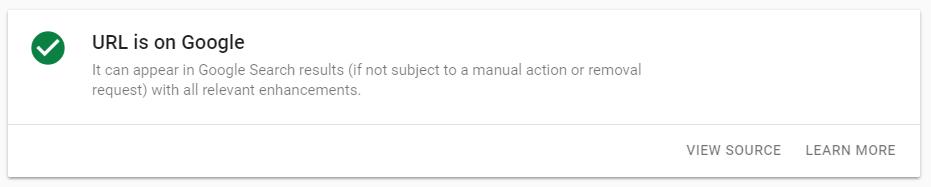 گزینه URL is on Google