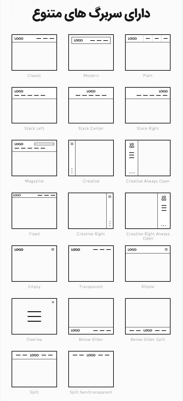 سربرگ های قالب BeTheme