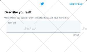 وارد کردن متن درباره من برای حساب کاربری توییتر