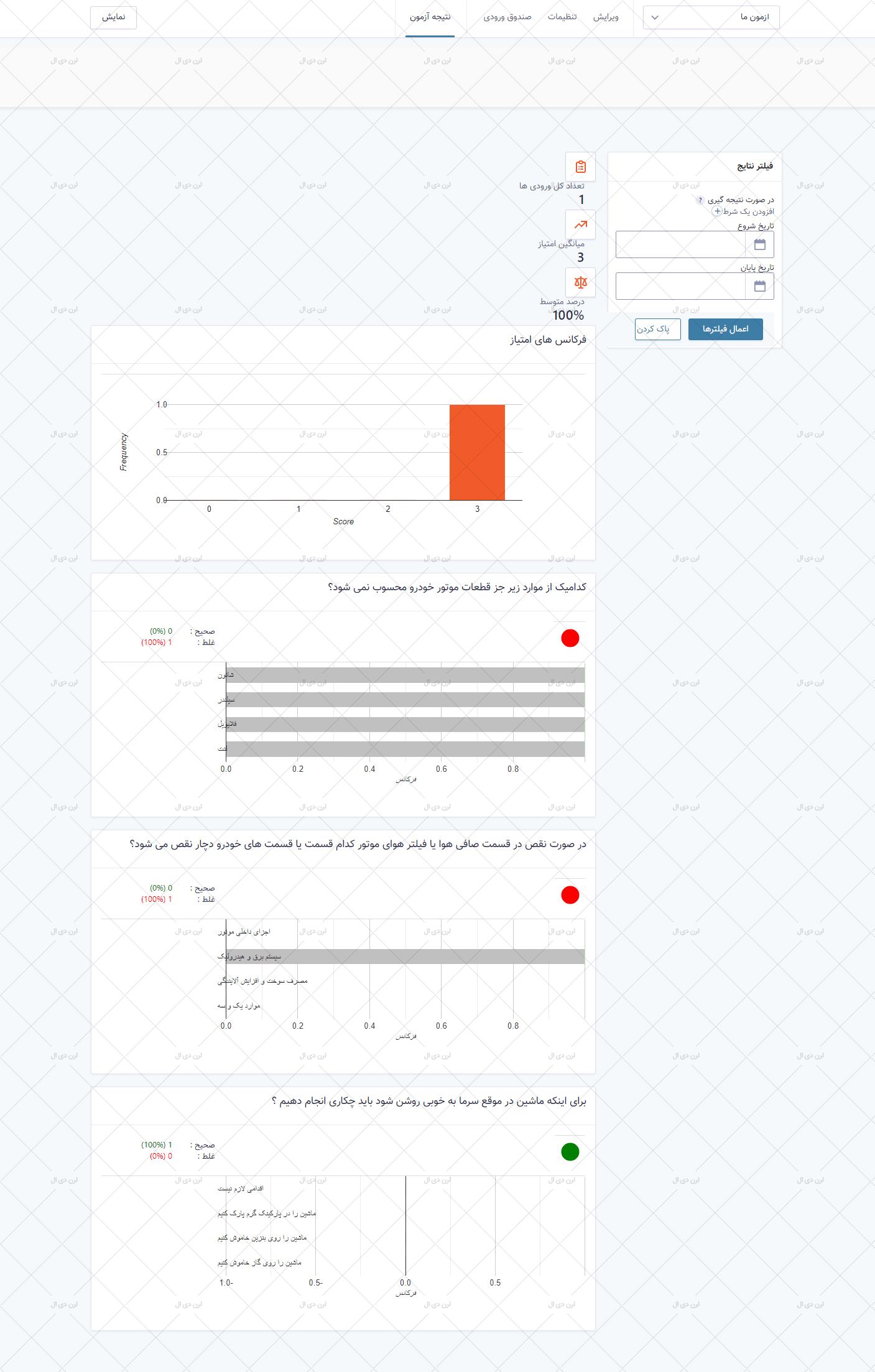 افزونه آزمون ساز وردپرس نسخه فارسی سازی شده